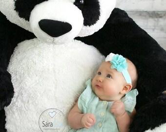 Ava Baby Flower Headband Photo Prop Aqua