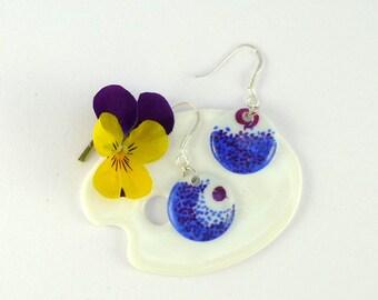 Porcelain Earrings,Blue Earrings,Porcelain Jewelry,Ceramic Jewelry,Boucles d'oreille en Porcelaine,Dangle Earrings