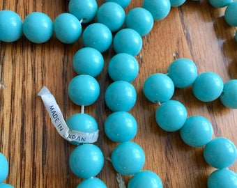 Vintage Japanese glass beads 24 Robin egg blue 10mm made in occupied Japan Chunky heavy on original shank