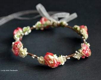 Wedding flower crown - Floral crown- Flower girls - Sale - Boho hair accessories - Flower crown - Flower girl Halo - Peach red yellow - Boho