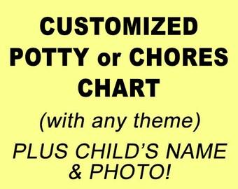 Potty Chart - Chores Chart - Potty Training Chart - Potty Reward Chart - Potty Sticker Chart - Customized, Personalized, Printable, DIGITAL