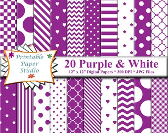 Purple Digital Paper Pack, 12x12 Scrapbook Paper, Purple Paper Instant Download Digital File, Purple Patterned Paper for Scrapbooking