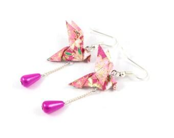 Earrings - Dove Roses/Golden - Origami, Japanese paper