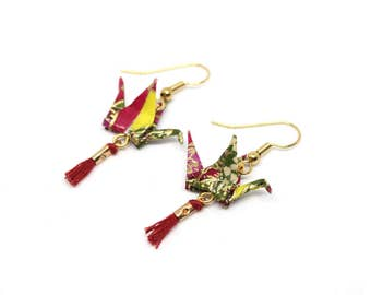 Cranes earrings green Origami in Japanese paper and Maroon pompons