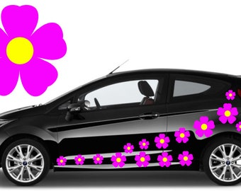 20, pink flower car decals,stickers in three sizes