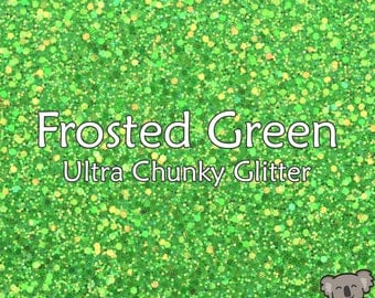 Chunky Frosted Green Glitter Fabric A4 Or A5 Sheets Faux Leather For Bows & Crafts