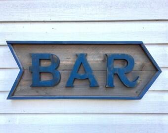 Bar Sign, Bar Arrow Sign, Rustic Bar Sign, Weathered Wood Sign