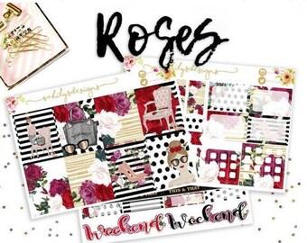 ROSES // Erin Condren Stickers // Sticker kit // Planner Stickers