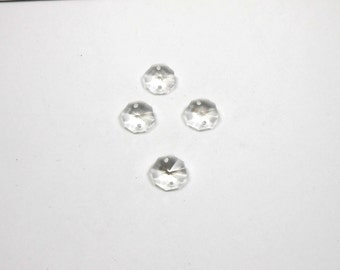 4 Two Hole Crystal Octagon Beads, 14mm, Octagon, Two Hole, Crystal, Jewelry Supplies, Bead Supplies, Jewelry Making