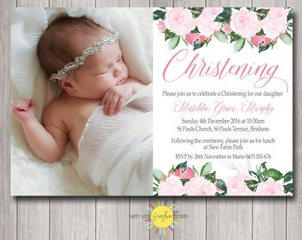 Personalised Printable Baptism/Naming Day/ Christening Photo Invitation Pink Floral