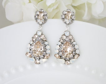 Swarovski statement wedding earring, Champagne and white opal chandelier, Crystal teardrop earring, Unique bridal earring