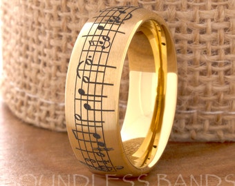 Tungsten Ring Tungsten Wedding Ring Mens Women's Wedding Bands Promise Anniversary Engagement 8mm Matching Ring Set Music Note Ring Dome New