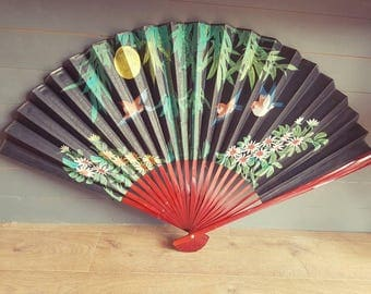 Large vintage fan stunning oriental fan ideal for wall decor. Flowers/birds wall art - burlesque