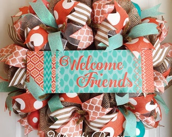 Summer Spring Welcome Wreath Everyday Wreath Deco Mesh Wreaths Coral and Aqua