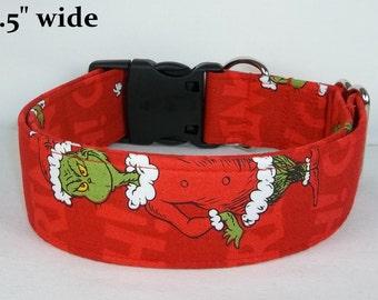 Red Grinch Christmas fabric Dog Collar custom made by Terri's Dog Collars adjustable with charm