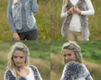 Bolero knitting pattern for faux fur yarn from James C Brett for elegant super soft and warming