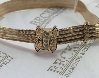 Victorian solid 14k yellow gold Mesh Slide Bracelet with a Fancy Enamel and Pearl Slide and Dangling Tassles, Adjustable