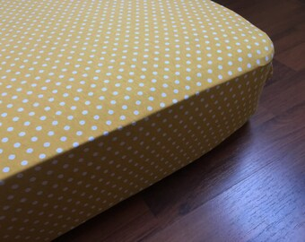 Mustard Polka Dot crib sheet / modern jersey knit fabric / nursery crib bedding, fitted sheet