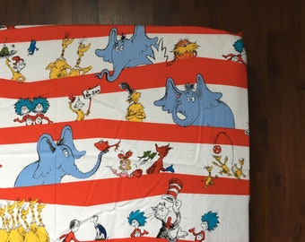 Dr. Suess Crib Sheet / crib bedding, nursery decor / Cat in the Hat, Thing 1 Thing 2, Horton, Yerlte the Turtle, Sneetches