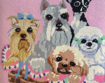 Vintage Mid Century SHABBY PUPPIES NEEDLEPOINT French Provincial Prairie Cottage Dog Lovers Chic