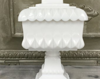 Milk Glass Covered Dish / Candy Dish /Square Compote With Lid / Vintage Milk Glass Covered Compote