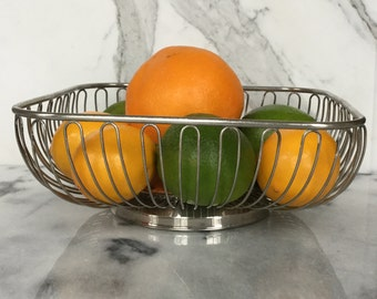 Silverplate Wire Basket / Square Metal Basket / Mid Century  Silver Serving Basket