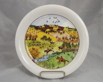"""Vintage Saji Fine China 7 3/4"""" Fox Hunt Plate"""