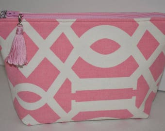 Stand Up Zipper Pouch. Pink Makeup Bag. Travel Accessory. Bag Insert. Purse Organizer. Birthday Gift. Gift For Her. Ready to Ship.