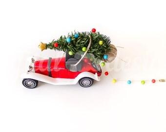 Vintage Car Christmas Tree Lights Ornament Up Corner Mock up Styled Stock Photography Christmas  Photo Design Xmas Tree  Image