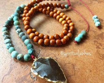 108 Bead Redwood, African Turquoise + Citrine Arrowhead Spiritual Junkies Yoga and Meditation Mini Mala