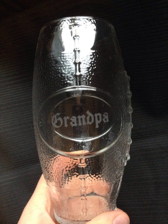 """Glass etched """"Grandpa"""" football cup"""