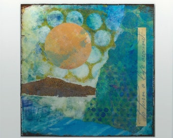Small abstract landscape painting ~ Mixed media ~ Original  ~ Colorful contemporary artwork  ~ PERSPECTIVE