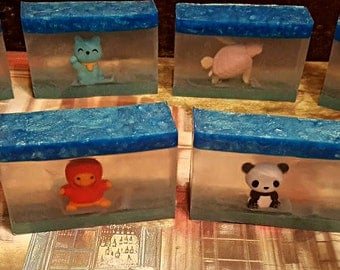 Animal Kingdom Soap / Home Made Soap Bar / Melt and Pour Soap / Glycerin Soap /  Aminal Puzzle Eraser / Kid Soap / Toy inside Soap