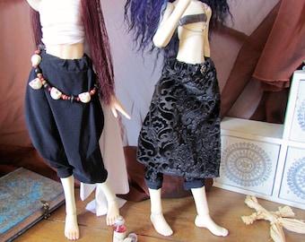 Goth Series -Black & Velvet Sarouel for MSD BJD, 1/4 doll, 45 cm. Fits Slim and Standard MSD body