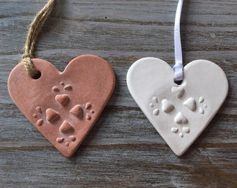 Nordic Style Heart white or terracotta Keepsake Handmade Air Dry Clay  - Can be Used as a Gift Tag, Wall or Door Hanging, little gift