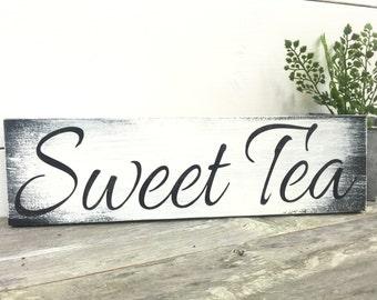 Sweet Tea Sign - Farmhouse Tea Sign - Rustic Wood Sign - Sign For Kitchen - Tea Sign - White Sign - Farmhouse Decor - Rustic Decor