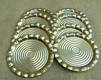 Vintage Set of 8 Little Metal Plates for Glasses for Wine Glasses 1970s