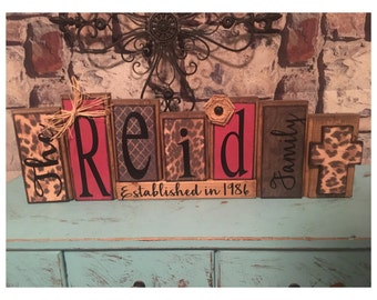 personalized made to match customizable wood family name block sets / established sign
