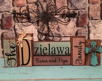 personalized made to match customizable wood name block set / established sign