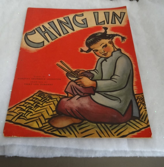 1945 Ching Lin-China Boat Girl Storybook by Dorothy Grunbock Johnston Oversized Book