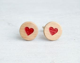 Wedding cufflinks Red heart Wood Cufflinks Men Fashion  Elegant cuff links  Modern Accessories for men