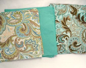 """Quilting Squares, 5"""" Cotton Fabric, De-Stash, DIY Sewing Project, Plain Aqua, Turquoise Brown Paisley, Mixed Fabric Squares"""