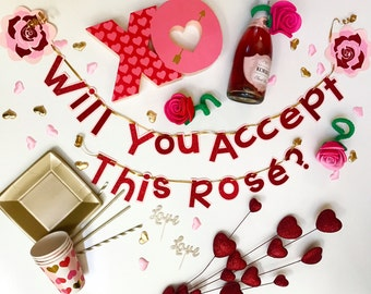 Will You Accept This Rosé? Banner; Bachelorette Banner;Bachelor Banner; Girls Night;Rosé Party;Pink and Red Decor; Rosé Decor