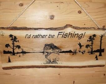 Fish Decor, Fishing Sign, Rustic Fishing Sign, Lake Sign, Lake Decor, Live Edge Sign, Bass Decor, Rustic Sign, Wall Decor