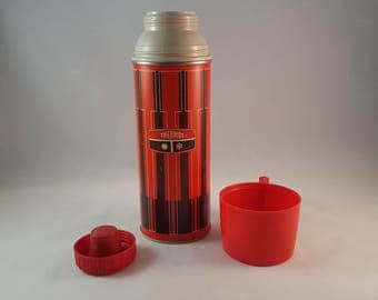 Red and Black Vintage Thermos - King-Seeley Thermos Co - 1971