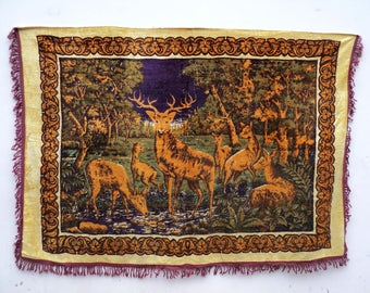 Vintage blanket - cover - Plush - decorations of the Soviet period 60-70 х - deer, carpet of the USSR