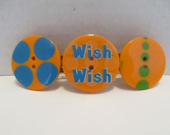Wish Large Button Barrette, Birthday Gift, Gifts for her, Gifts for girls, Gifts for teens, Button Barrettes, Hair Accessories, Hair Clip
