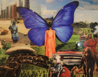 Mme Butterfly Collage Surreal landscape dream world mied media print archival