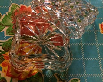 Crystal trinket dish square vintage faceted glass box container jewellery lid jewelery carved