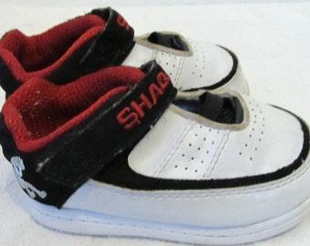 Baby Boys Vintage ,White HIP HOP era Velcro Close SHAQ Sneakers.5